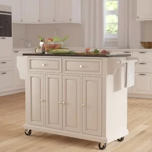 white kitchen islands corner unit table carts you ll love wayfair quickview