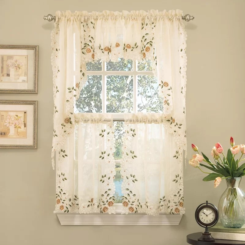 kwame embroidered semi sheer tier curtain