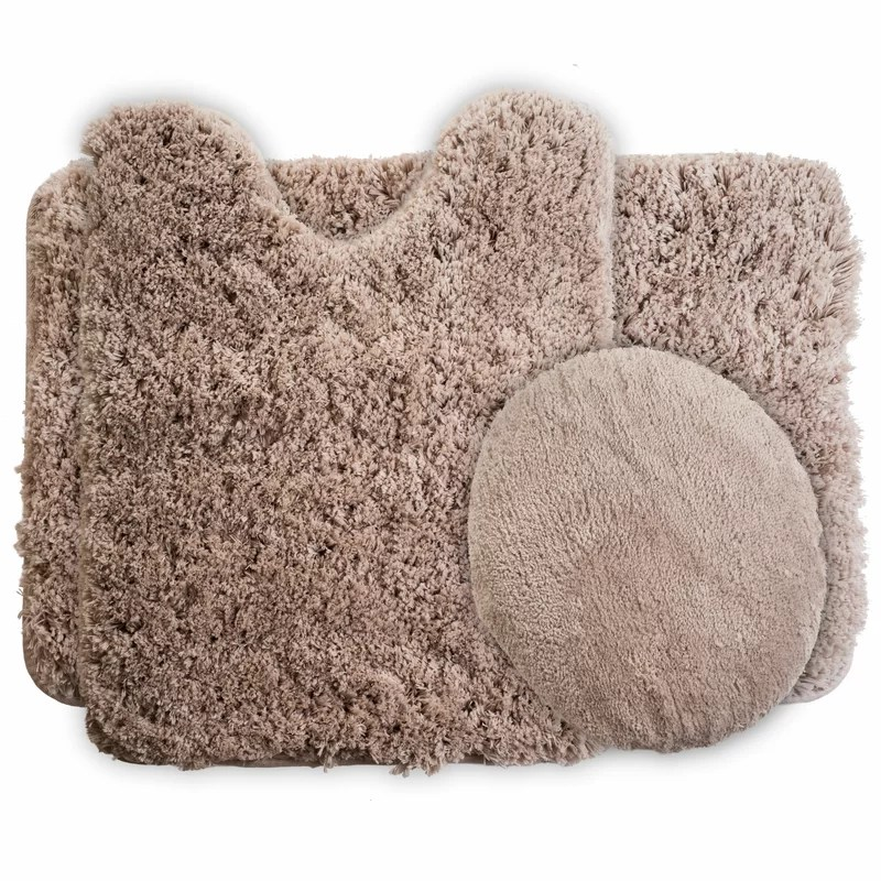 lavish home 3 piece super plush non slip bath rug set & reviews