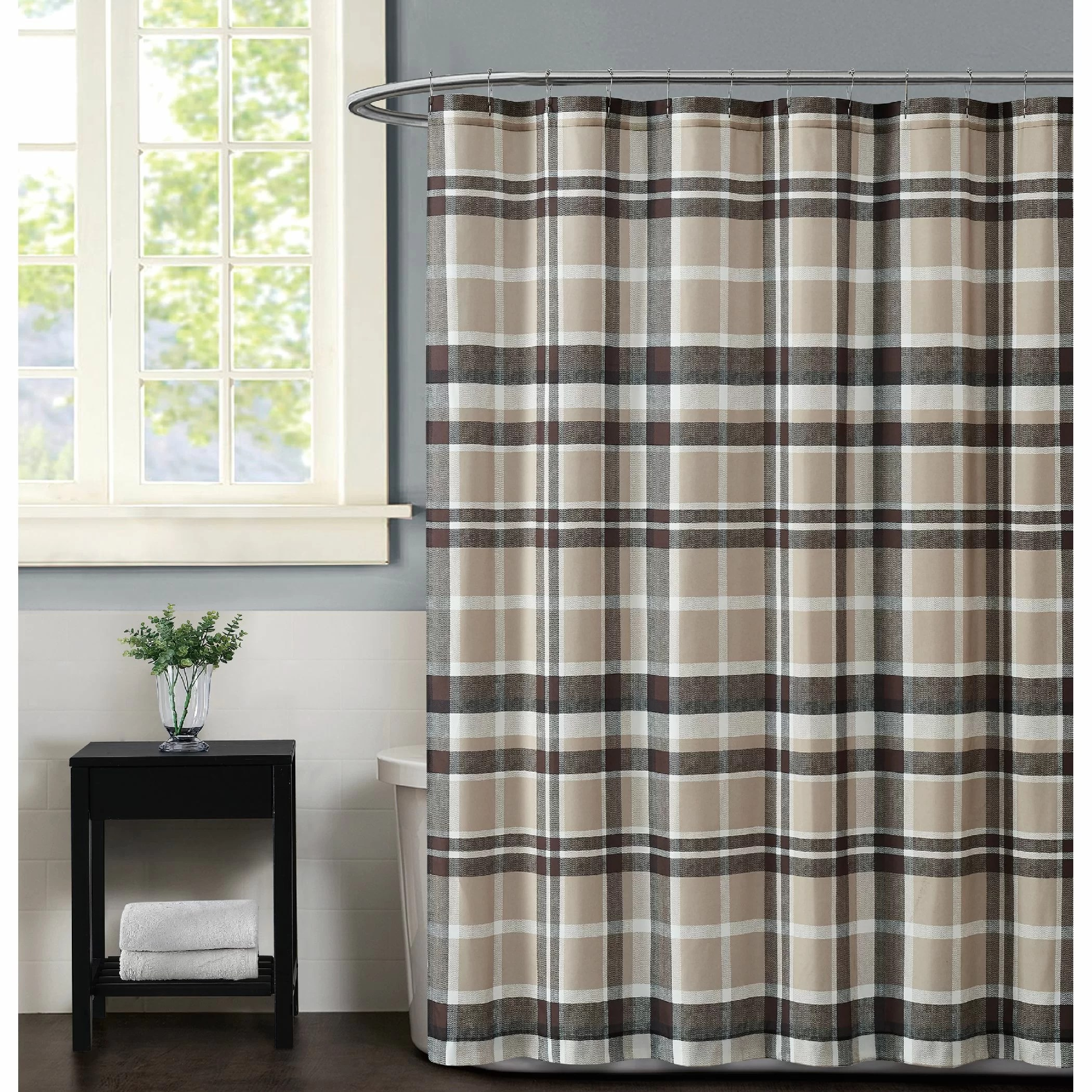 truly soft paulette plaid taupe shower curtain