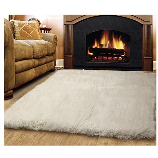 Bloomville Flokati Wool Natural Area Rug