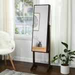 Ebern Designs Aganlane Free Standing Jewelry Armoire With Mirror Reviews Wayfair