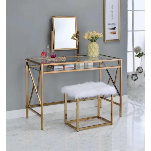 Enid Contemporary Vanity Set With Mirror & Joss