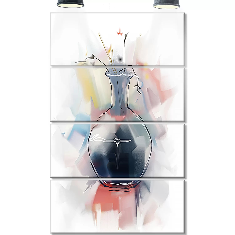 hight resolution of designart abstract flowers in vase 4 piece painting print on metal set wayfair