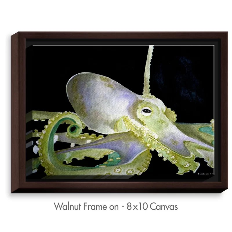 Deep Sea Life- Octopus by Marley Ungaro Painting Print on Wrapped Framed Canvas Size: 31.75 H x 41.75 W x 1.75 D Frame Color: Walnut