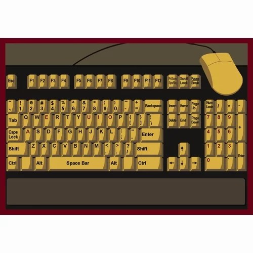 Keyboard Connection Brown/Yellow Area Rug Rug Size: Rectangle 54 x 78