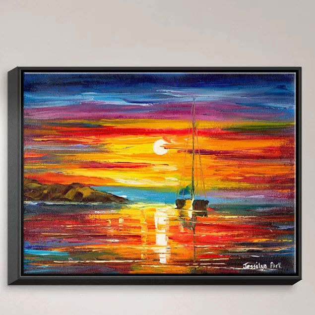 Playa del Sol by Jessilyn Park Painting Print on Wrapped Framed Canvas Size: 19.75 H x 25.75 W x 1.75 D Frame Color: Black
