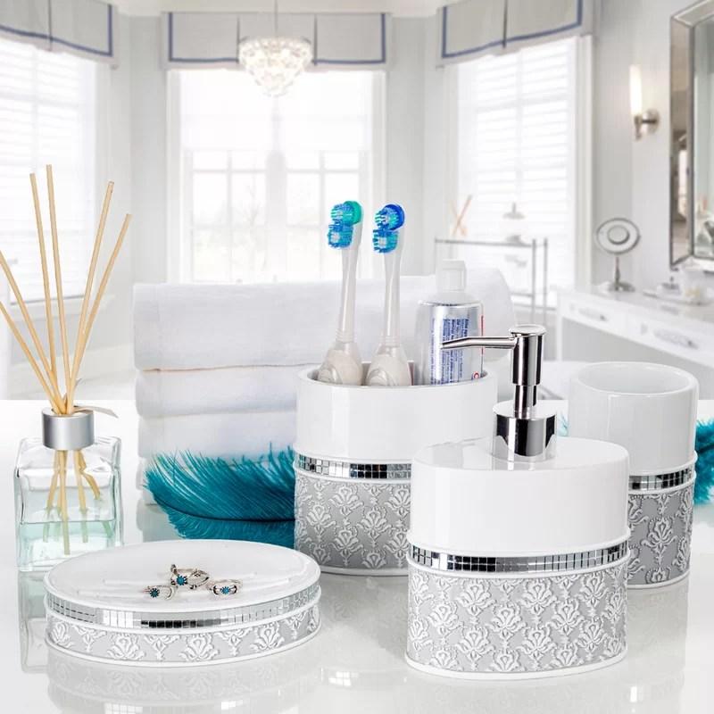House Of Hampton Mirror Damask 4 Piece Bathroom Accessory Set Reviews Wayfair