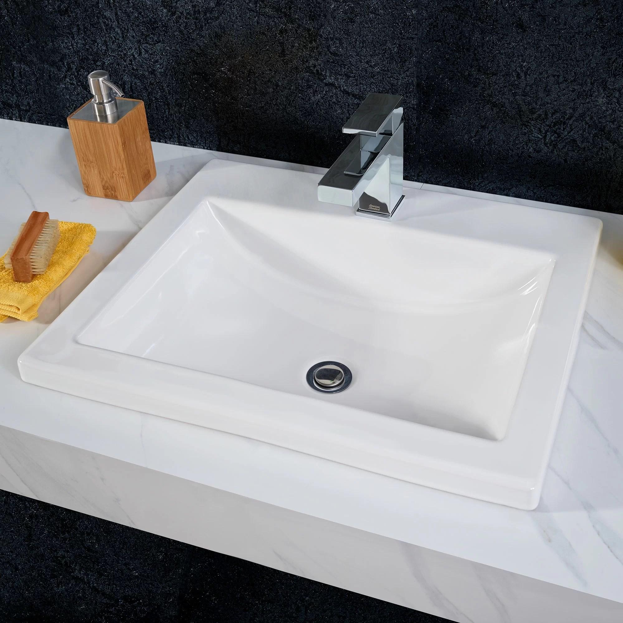 studio vitreous china rectangular drop in bathroom sink with overflow