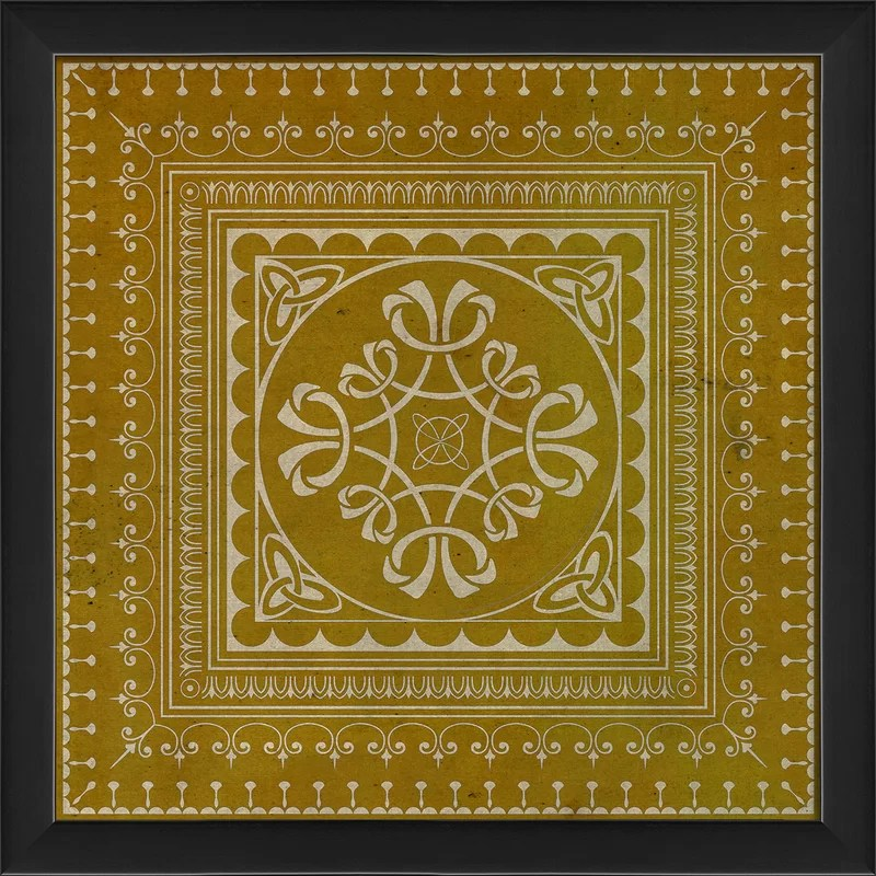 Tile 3 Framed Graphic Art Color: Yellow