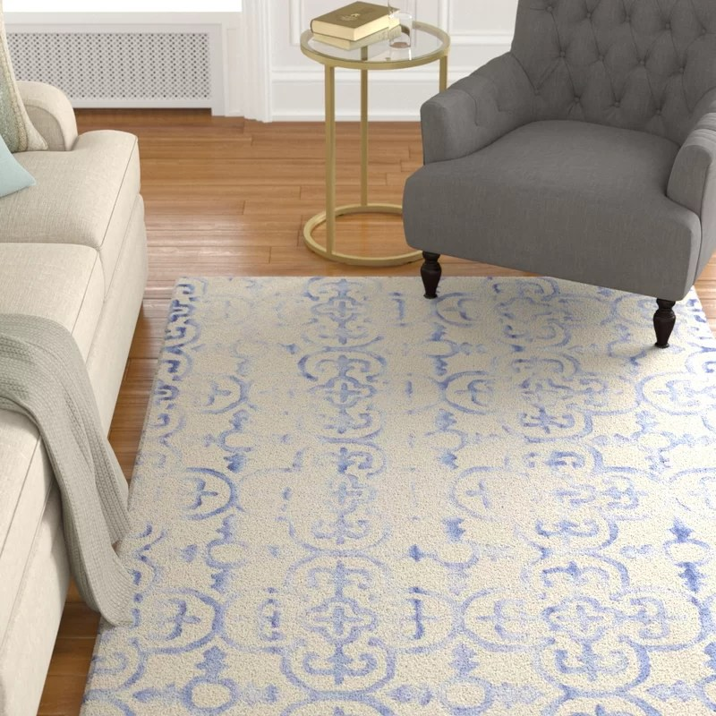 Carter Hand-Tufted Ivory/Blue Area Rug Rug Size: Rectangle 3 x 5
