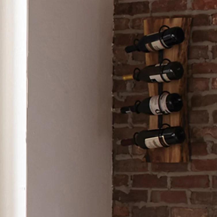 bexton live edge 4 bottle wall mounted wine bottle rack