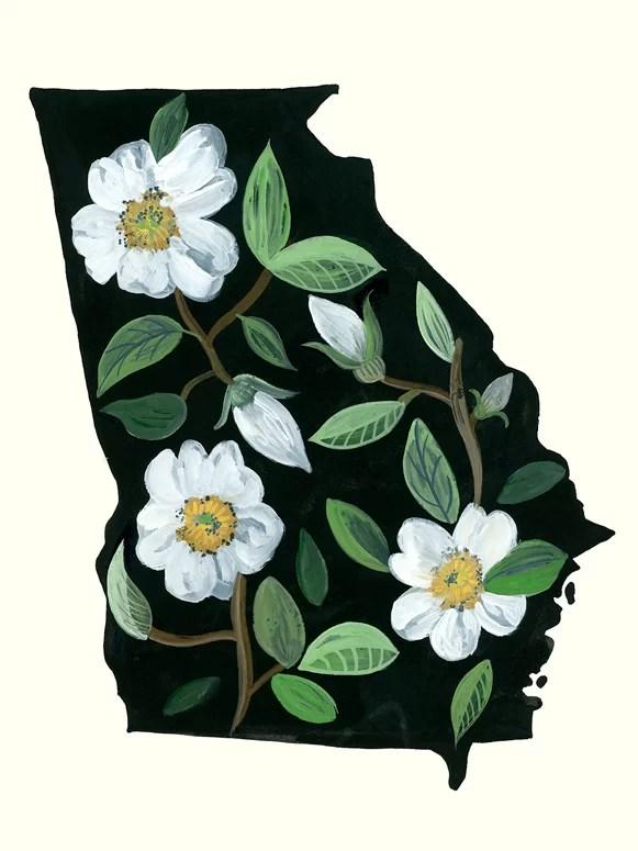 Wrought Studio State Flowers Georgia Acrylic Painting Print Wayfair