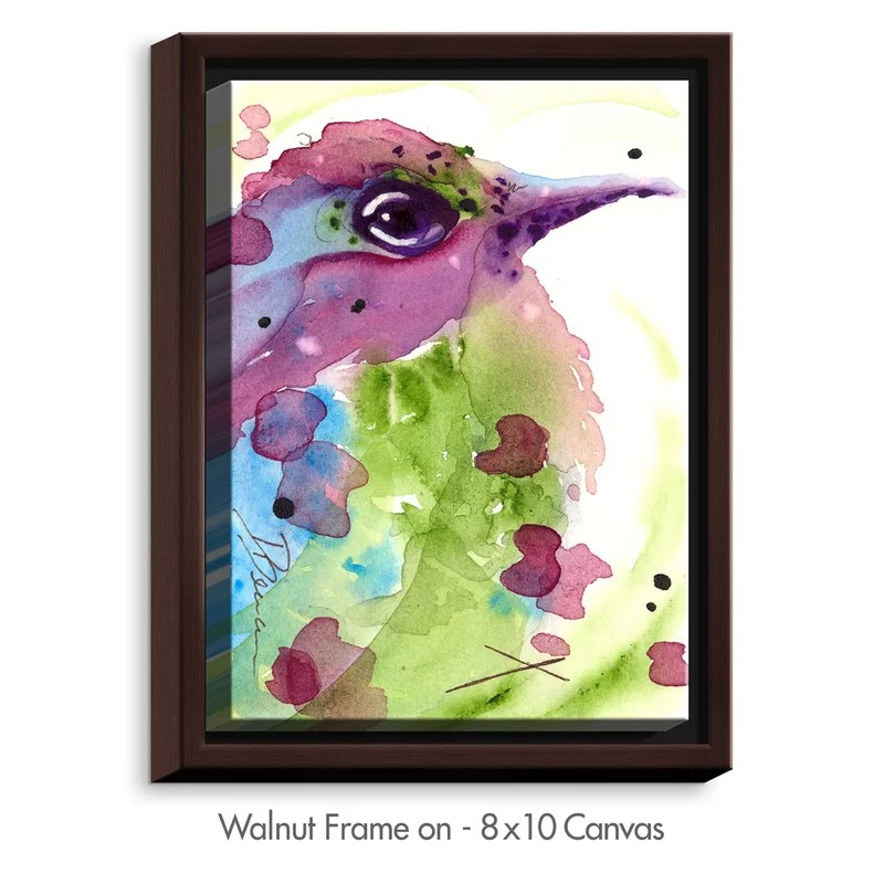Spring Dreaming Bird by Dawn Derman Painting Print on Wrapped Framed Canvas Size: 37.75 H x 25.75 W x 1.75 D Frame Color: Walnut