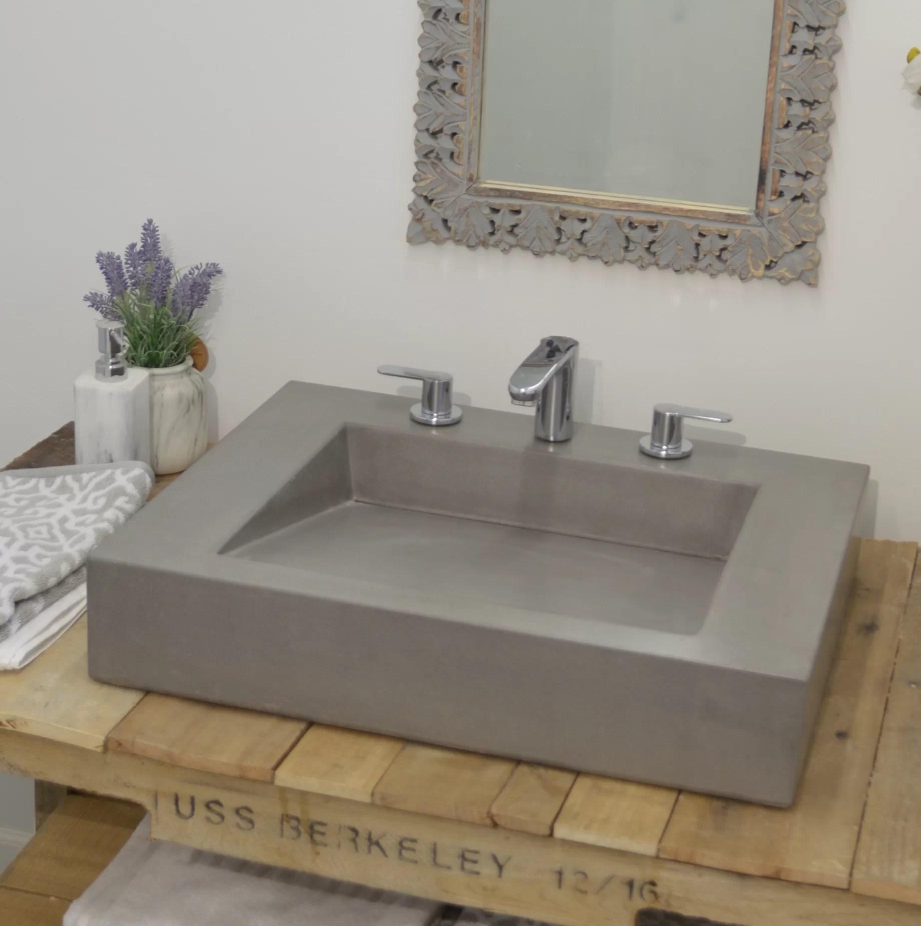 ramp double concrete rectangular vessel bathroom sink