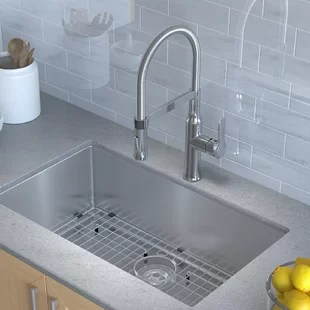 42 inch kitchen sink kitchener 12 meat grinder wayfair handmade series 30 x 18 undermount with faucet and soap dispenser