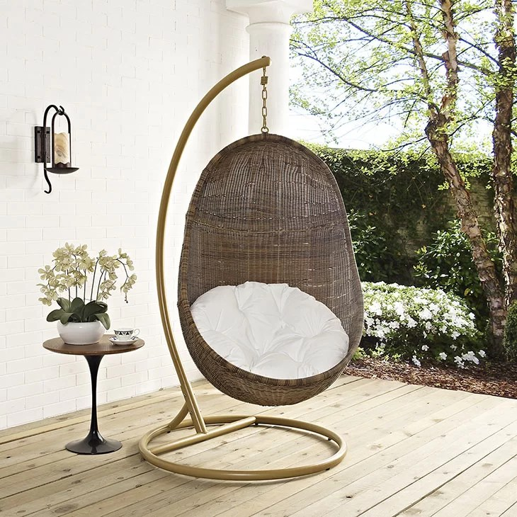 hanging chair wood ethan allen giselle modway bean swing with stand reviews wayfair