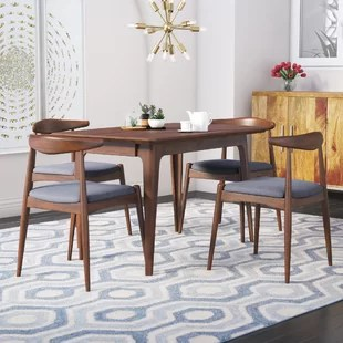 modern tables and chairs chair stools white contemporary dining room sets allmodern millie 5 piece mid century set