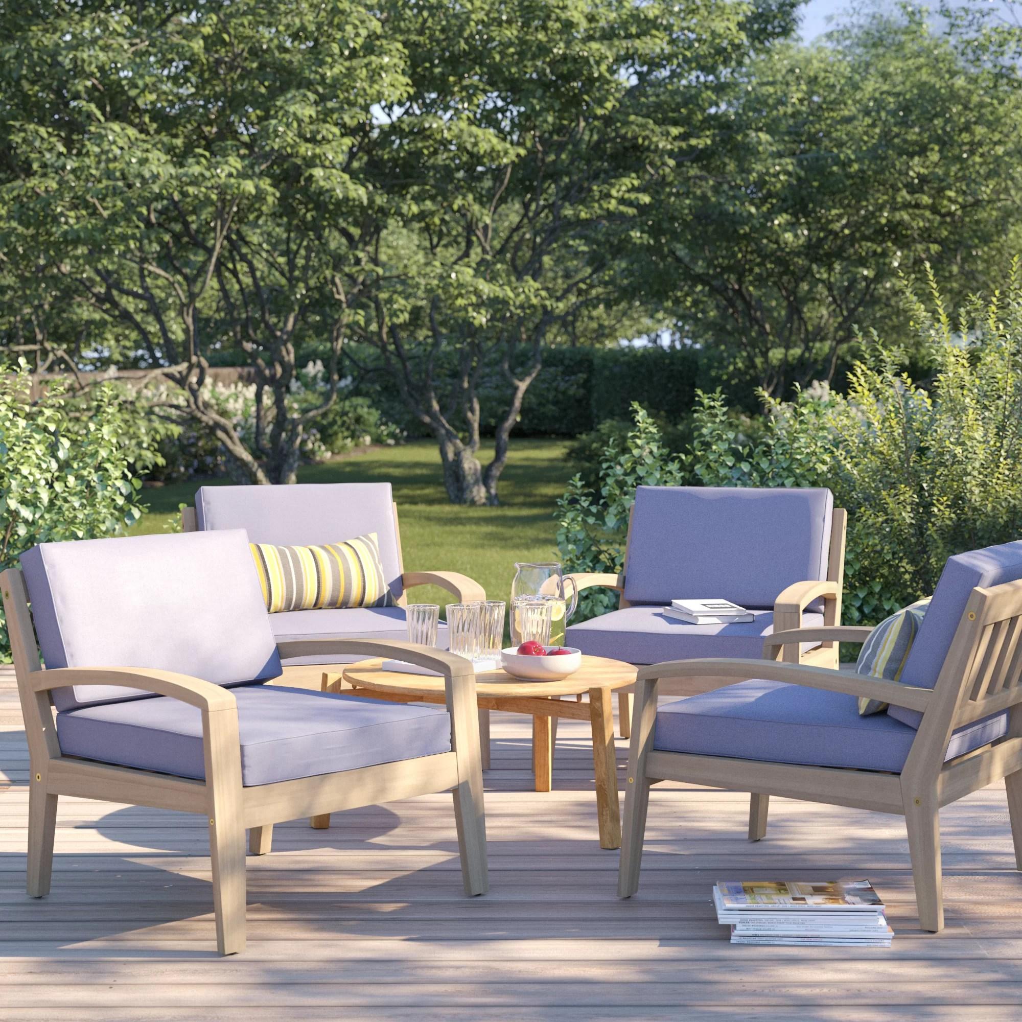 berkley wood frame patio chair with cushions