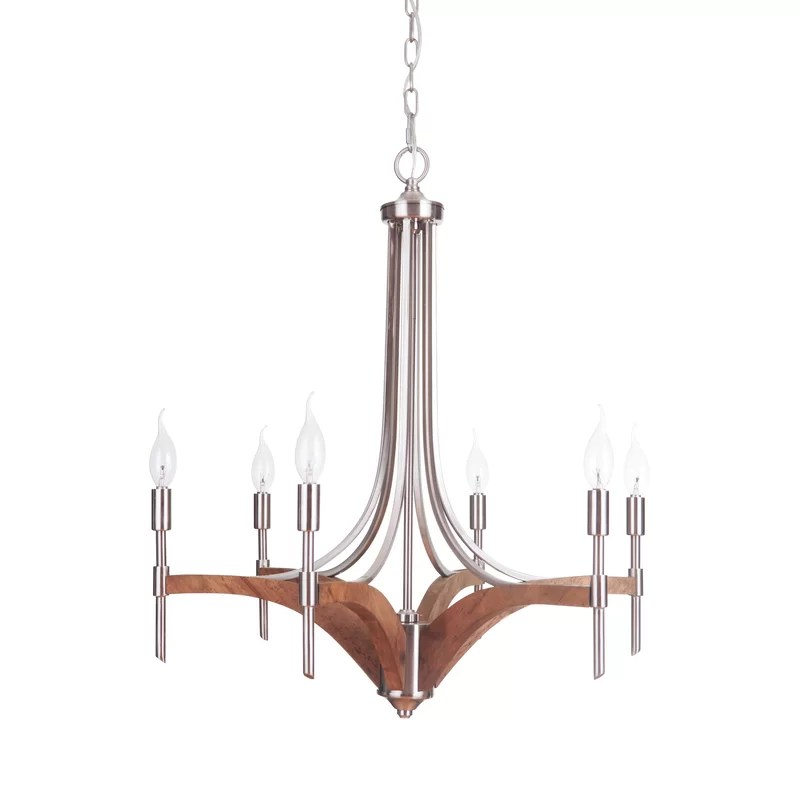 polen 6 light candle style empire chandelier with wood accents