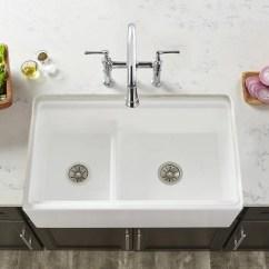 Elkay Kitchen Sinks Sink Fixtures Fireclay 33 L X 20 W Double Basin Farmhouse With Aqua Divide Reviews Wayfair Ca