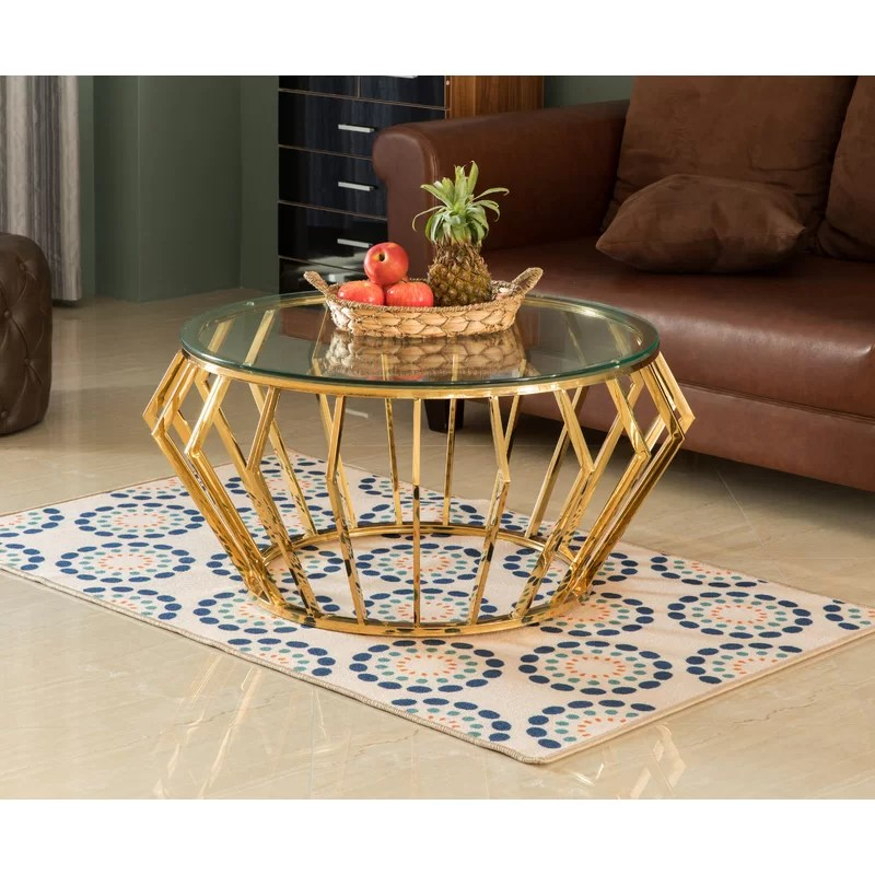 round shaped glass gold stainless steel metal modern coffee table