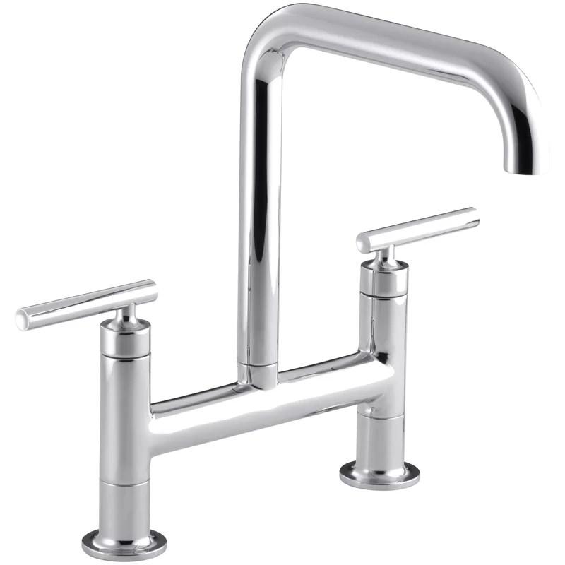 purist two hole deck mount bridge kitchen sink faucet