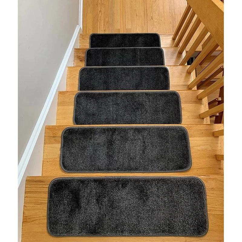 Symple Stuff Hostetler Non Slip Stair Tread Reviews Wayfair   Wayfair Stair Tread Rugs   Astoria Grand   Beige Carpet   Lis Living   Bullnose Carpet   Non Slip Stair