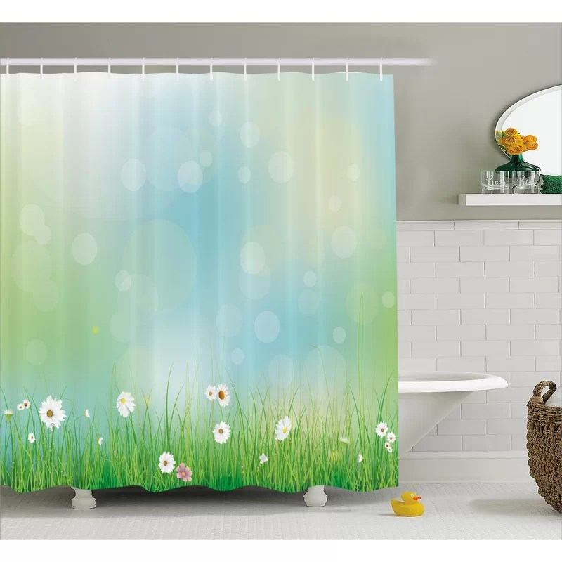 tamela fairy spring blooms pattern with digital made bursts ovary single shower curtain