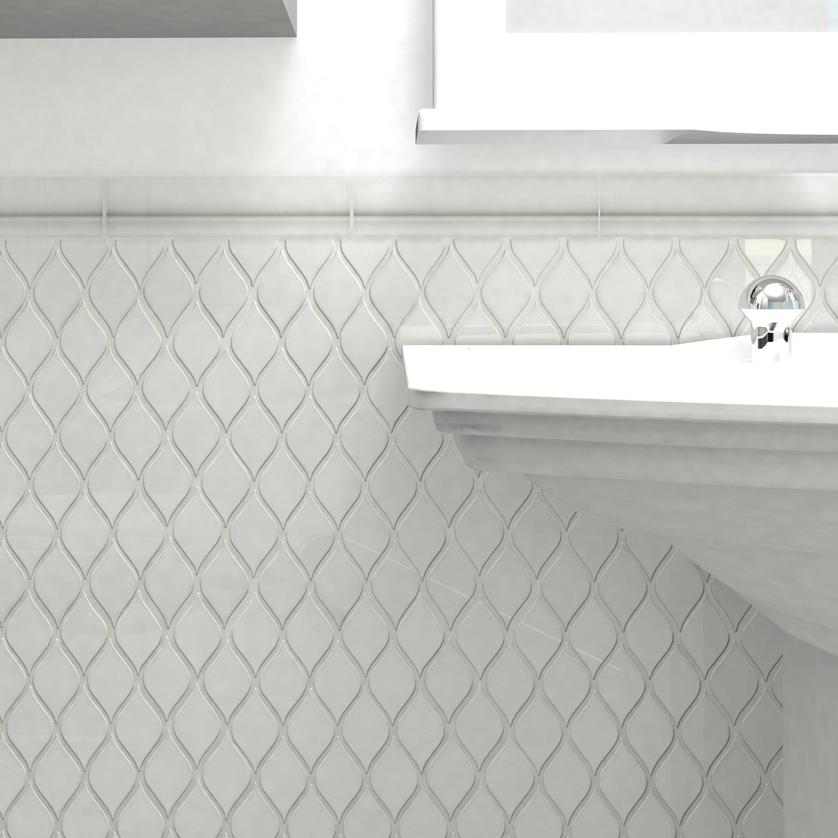 guadeloupe 8 x 2 glossy ceramic quarter round tile trim in white