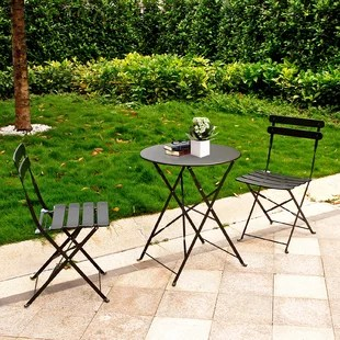 premium steel patio bistro set folding outdoor patio furniture sets 3 piece patio set of foldable patio table and chairs yellow