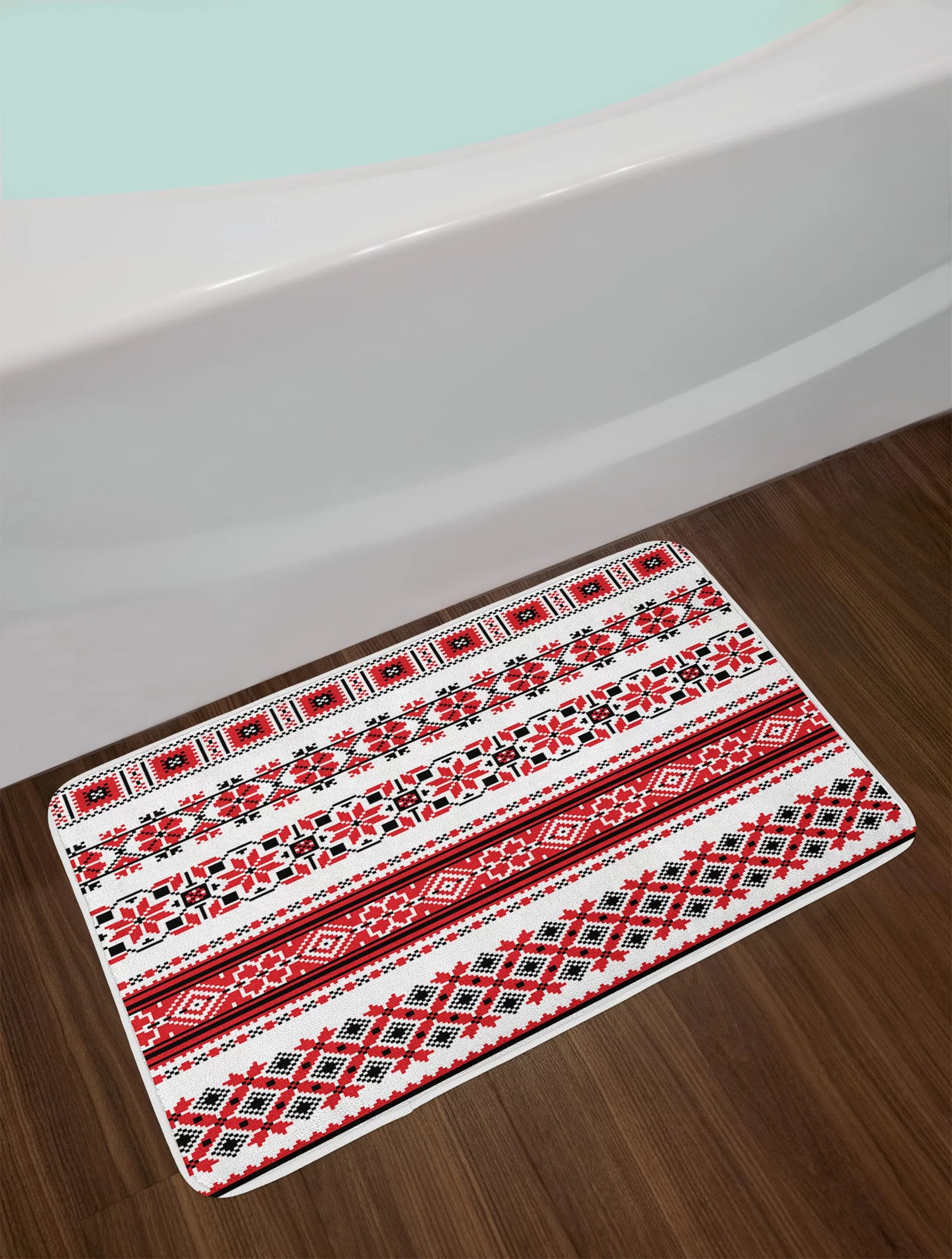 Red Bathroom Rug Ambesonne Red Bath Mat By Ukrainian Needlework Illustration Ethnic Traditional Accents Arts And Crafts Theme Plush Bathroom Decor Mat With Non Slip