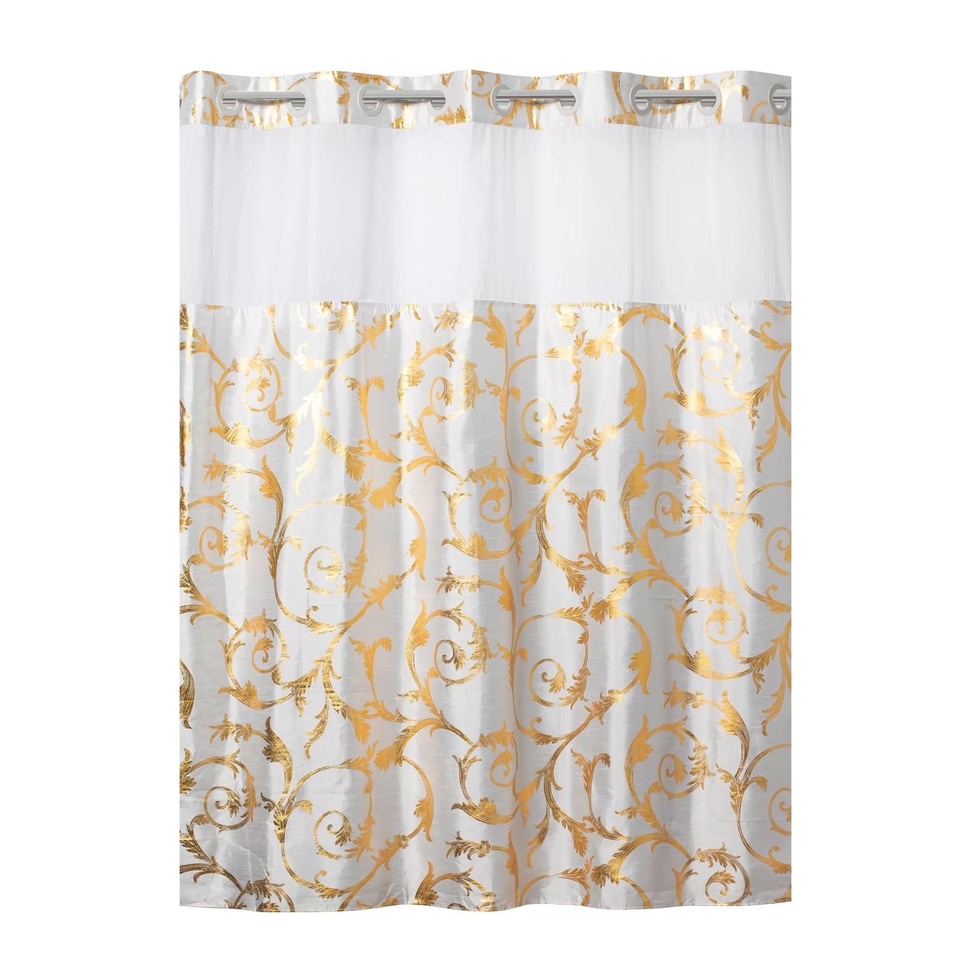 hookless silk gold tassel embossed shower curtain
