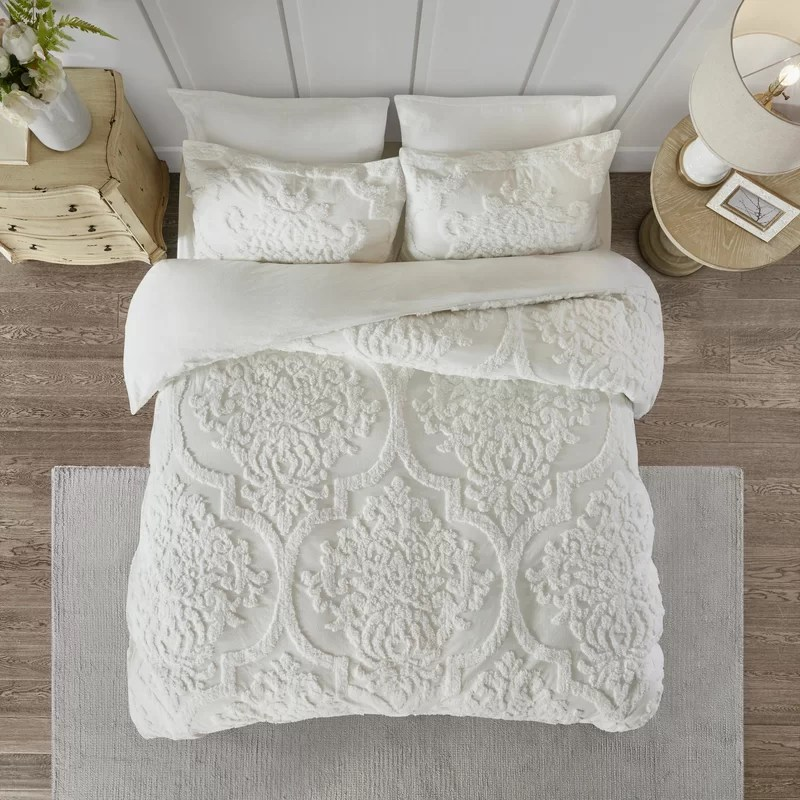 Eider Ivory Kennesaw 3 Piece Tufted Cotton Chenille