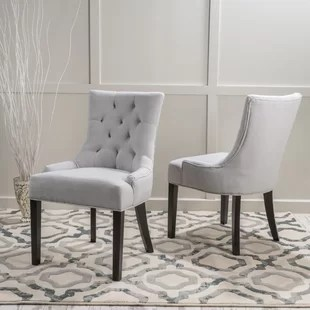 gray side chair black leather modern tufted cushion dining chairs birch lane quickview
