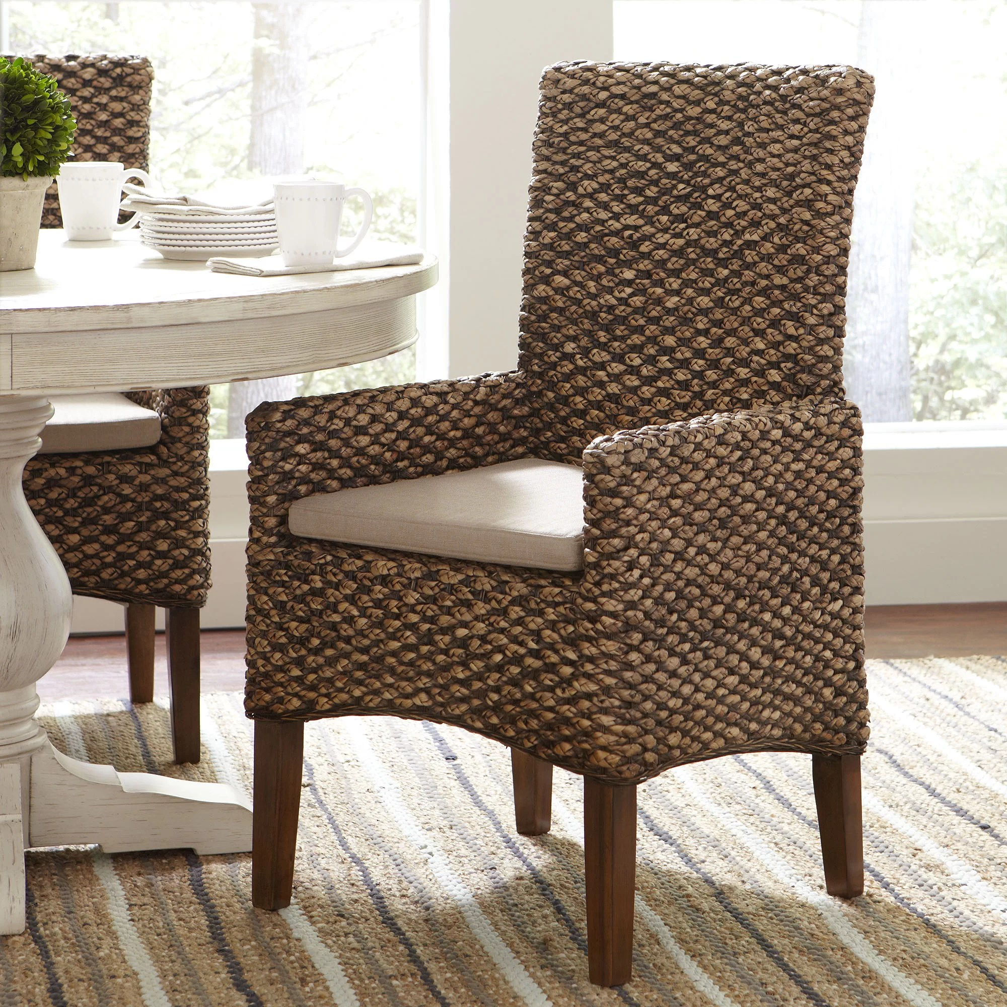 Seagrass Dining Chair Heliodoro Woven Seagrass Arm Chairs