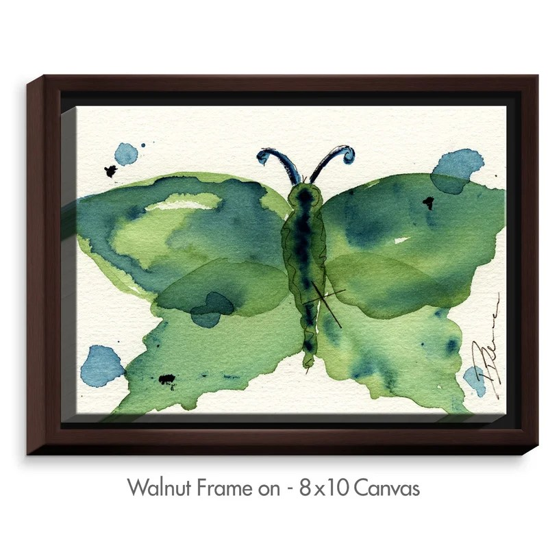Moth III by Dawn Derman Painting Print on Wrapped Framed Canvas Size: 12.75 H x 15.75 W x 1.75 D Frame Color: Walnut