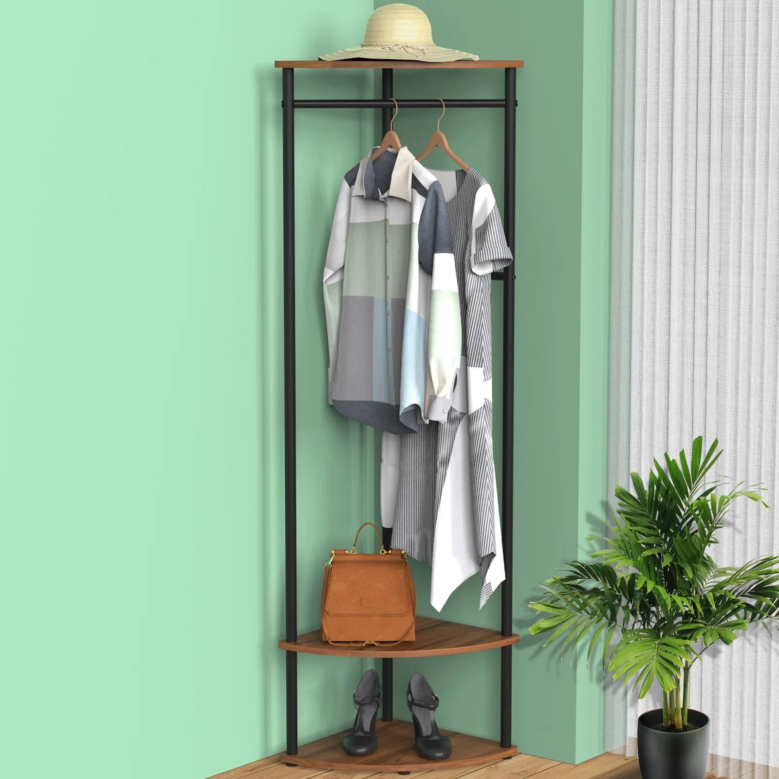 cumings 4 hook freestanding coat rack storage in brown black