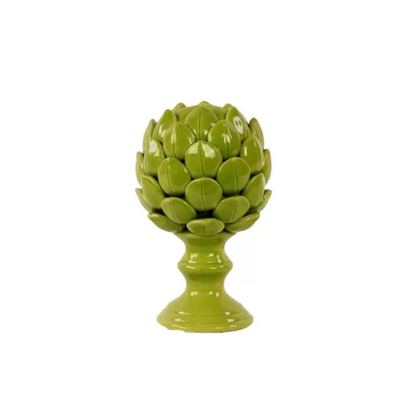 Decorative Porcelain Artichoke on Stand Figurine Size: Small Color: Green