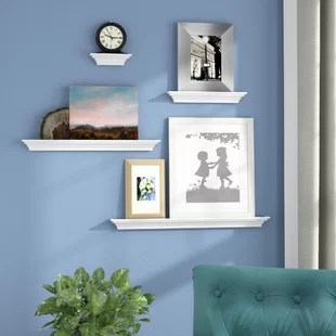 how to decorate living room wall your with indoor plants decor you ll love wayfair ca brick and barrel 4 piece ledge set
