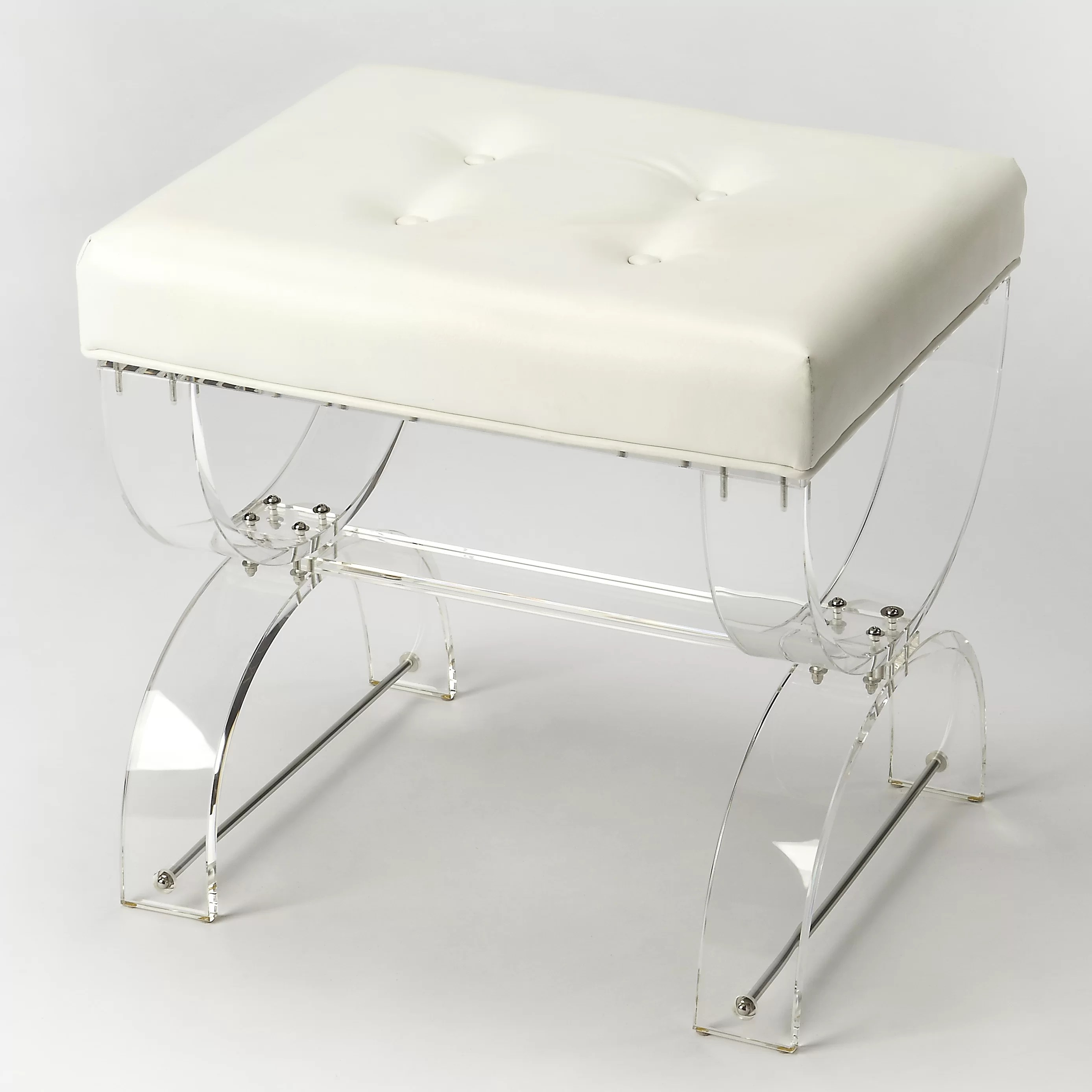 Tufted Vanity Chair Nerissa Acrylic Vanity Stool