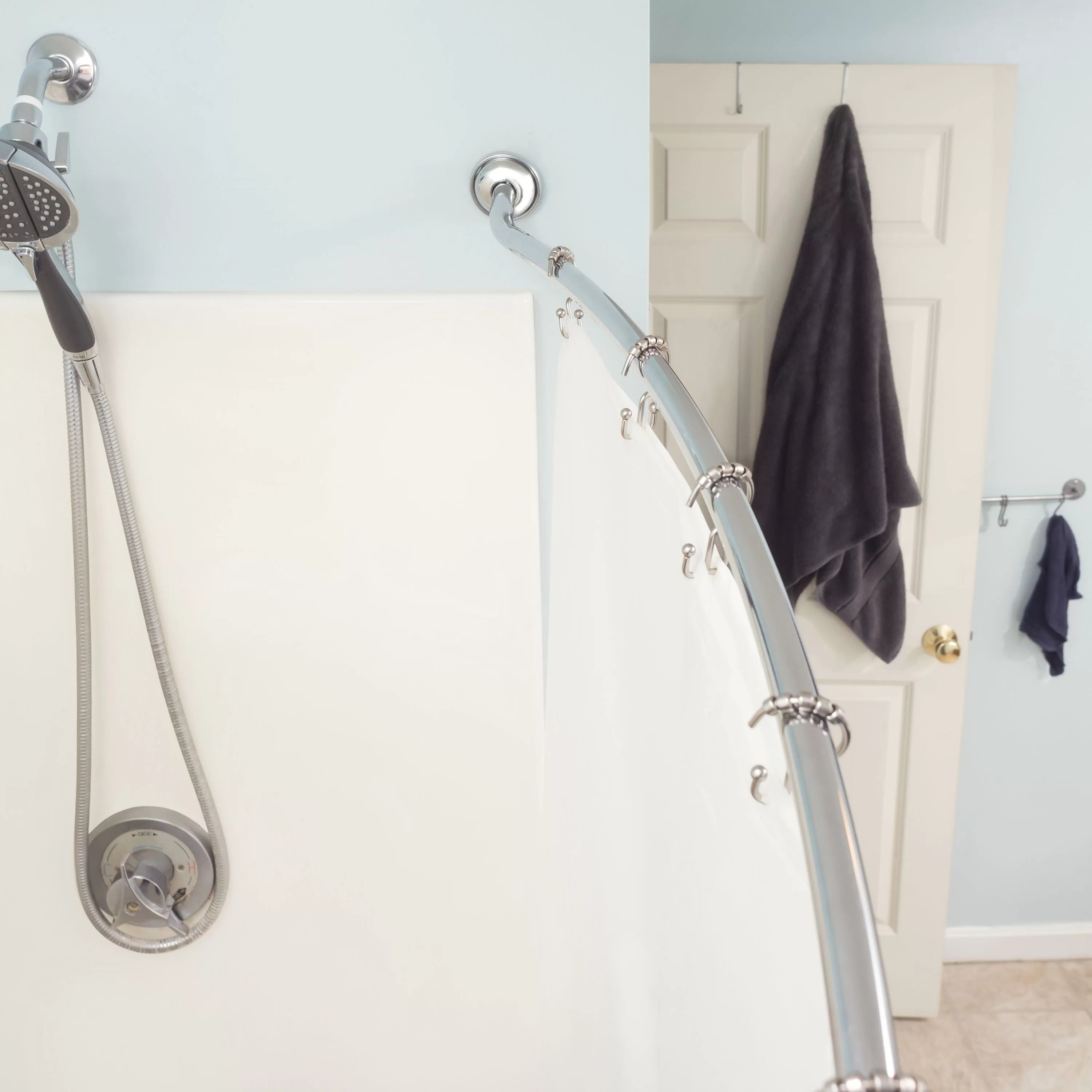 Steel 1 5 W Curved Shower Curtain Rods