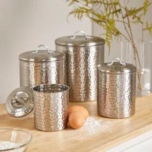 canisters kitchen antique brass hardware gray wayfair cohagen 4 piece canister set