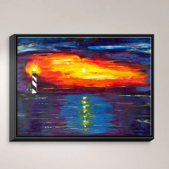Sunset at Lighthouse by Jessilyn Park Painting Print on Wrapped Framed Canvas Size: 13.75 H x 17.75 W x 1.75 D Frame Color: Black