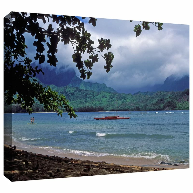 Red Canoe on Hanalei Bay by Kathy Yates Photographic Print on Wrapped Canvas Size: 16 H x 24 W