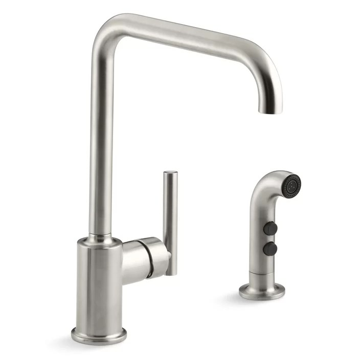 kitchen sink faucet glass door cabinet kohler purist two hole with 8 spout and matching finish sidespray