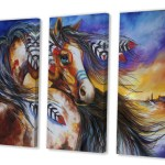 East Urban Home 5 Feathers Indian War Horse Painting Multi Piece Image On Canvas