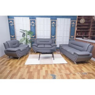 grey leather living room set couch for small sets you ll love wayfair quickview