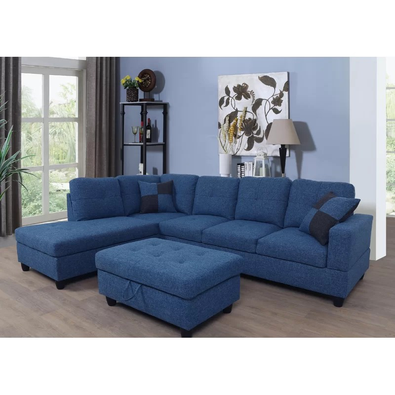 russ 103 5 wide linen large sectional with ottoman