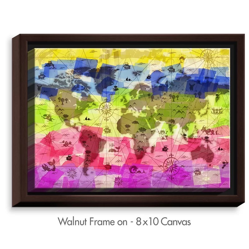Whimsical World Map II by Angelina Vick Painting Print on Wrapped Framed Canvas Size: 17.75 H x 21.75 W x 1.75 D Frame Color: Walnut